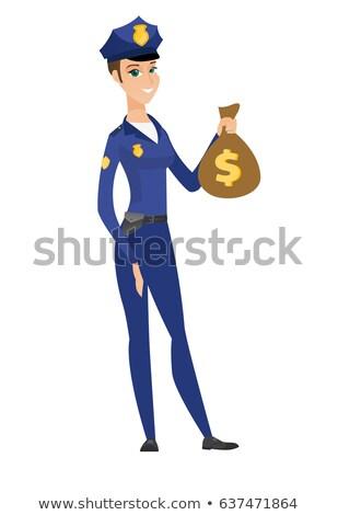 Kaukázusi rendőrség nő tart pénz táska Stock fotó © RAStudio