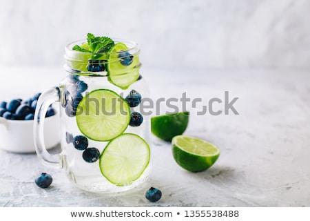 Water voedsel glas achtergrond drinken cocktail Stockfoto © M-studio