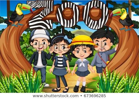 çocuklar ayakta hayvanat bahçesi imzalamak örnek kız Stok fotoğraf © bluering