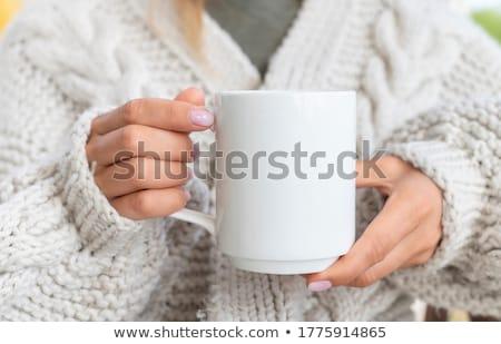 Vrouw koffiemok blonde vrouw warme drank beker Stockfoto © tekso