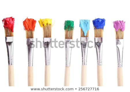 color palette with fresh paint and brush stock photo © Sibstock