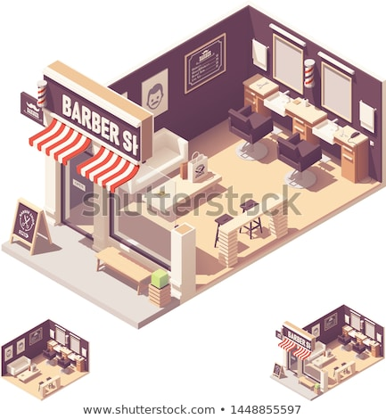 isometric barber shop building stock photo © genestro