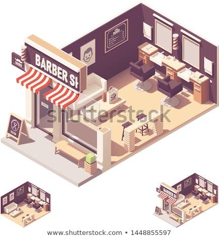 Barbero tienda edificio 3D icono Foto stock © Genestro