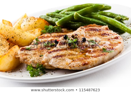cerdo · chuleta · frijoles · salsa · de · tomate - foto stock © Digifoodstock
