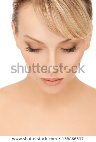Pretty blonde woman with make-up looking down.Isolate Stock photo © julenochek