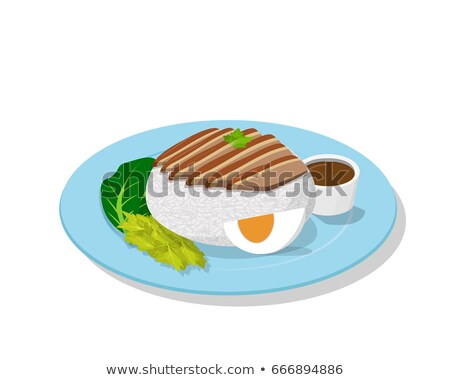 Stewed pork leg on rice, perspective view, vector Stock photo © jiaking1