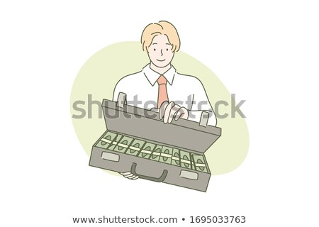 Businessman and money. Buyer with suitcase. Vector illustration Stock photo © popaukropa