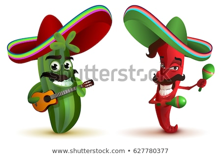 Stock photo: Red hot chili peppers and cactus in Mexican hat sombrero dancing maracas