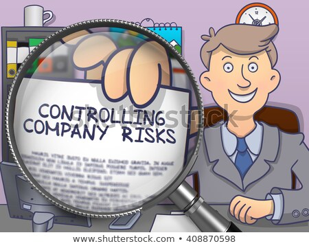 Controlling Company Risks through Magnifier. Doodle Style. Stock photo © tashatuvango