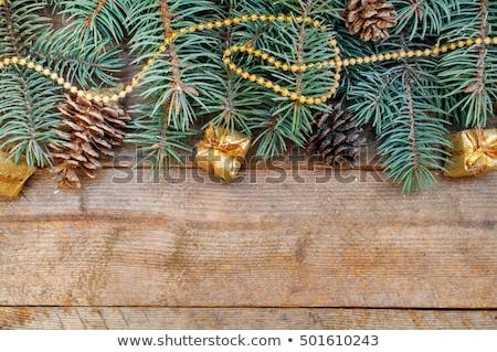 Сток-фото: Christmas Border With Fir Tree Branches Cones Christmas Decora