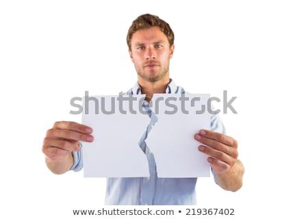Férfi tart szakadt fehér papír törött Stock fotó © wavebreak_media