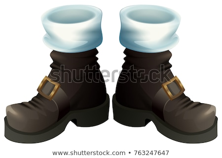 Black shoes with gold buckles. Santa Claus boots Christmas accessory Stock photo © orensila