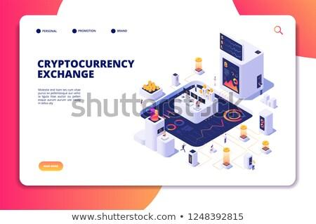 bitcoin · bányászat · poszter · terv · szett · üzlet - stock fotó © frimufilms