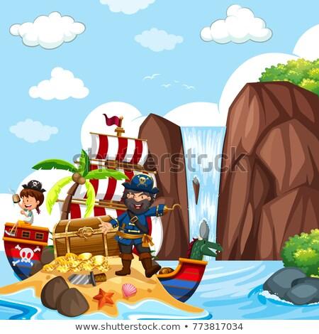 Cena pirata cachoeira ilustração paisagem Foto stock © bluering