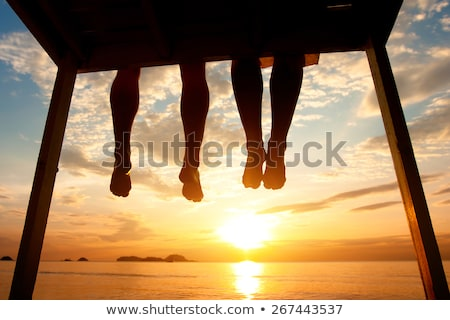 Woman on beach watching sunset low angle Stock photo © IS2