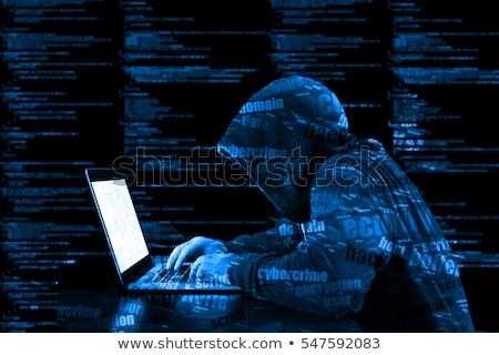 Komputera hacker twarz kodu Internetu sieci Zdjęcia stock © stevanovicigor