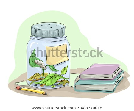 Oruga estudio jar libros animales ilustración Foto stock © lenm