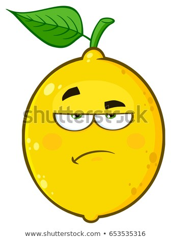 Grincheux jaune citron fruits cartoon visage Photo stock © hittoon