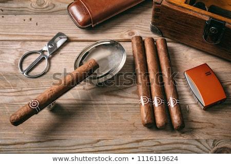 charutos · coleção · abrir · metal · fumador · luxo - foto stock © eh-point
