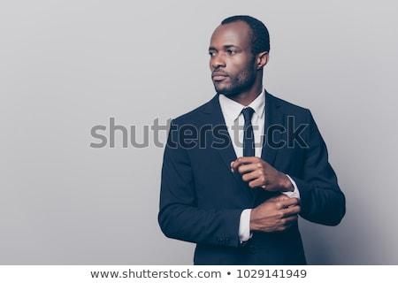 portret · aantrekkelijk · jonge · man · zwarte · smoking · vergadering - stockfoto © feedough