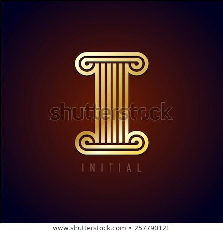 White Ionic Design Column on Dark Background Stock photo © feverpitch