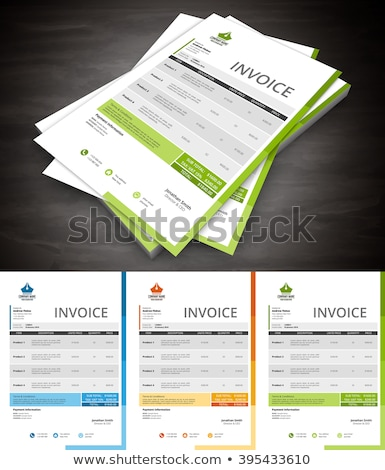 creative blue and green invoice template design Stock photo © SArts