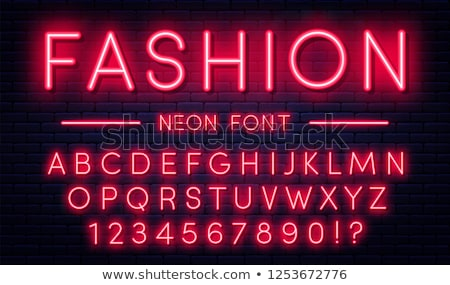 Bright Neon Alphabet On Dark Brick Wall Background Vector Number And Symbol With Shiny Glow Effect Сток-фото © Yevgenij_D