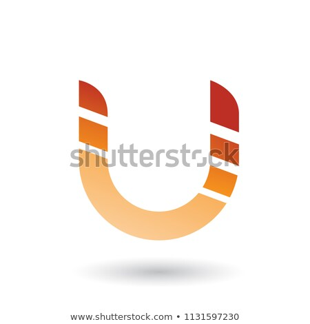 Stock photo: Orange Striped Bold Icon for Letter U Vector Illustration