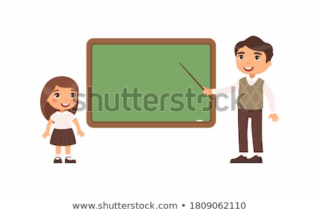 Schoolgirl Standing Near A School Board In The Class Vector. Isolated Illustration Stock photo © pikepicture
