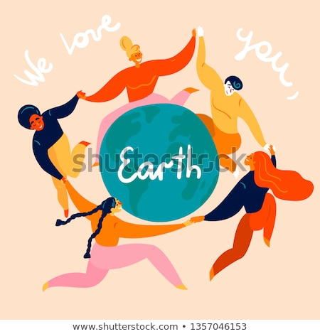 Happy People Hold Hands Celebrate Environment Day Stock photo © robuart