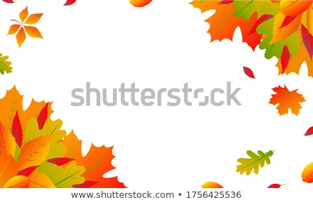 Autumn Sale Design with Falling Leaves and Lettering on Green Background. Autumnal Vector Illustrati Stock photo © articular