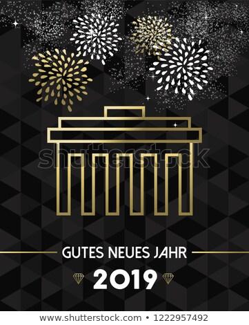 új év Berlin Németország Brandenburgi kapu arany boldog új évet Stock fotó © cienpies