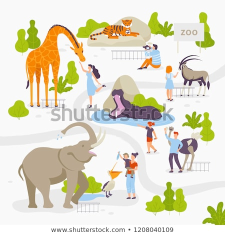 People Visiting Zoo Illustration Stock photo © artisticco