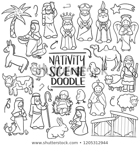christmas nativity scene cartoon coloring stock photo © krisdog