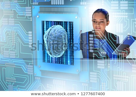 Cognitive computive concept with woman pressing buttons Stock photo © Elnur