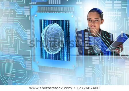 Stock fotó: Kognitív · nő · kisajtolás · gombok · üzlet · számítógép