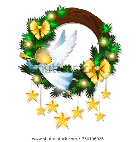 Christmas sketch with wreath decorated with fir twigs, golden ribbon bow, flying angel, garland and  Stock photo © Lady-Luck