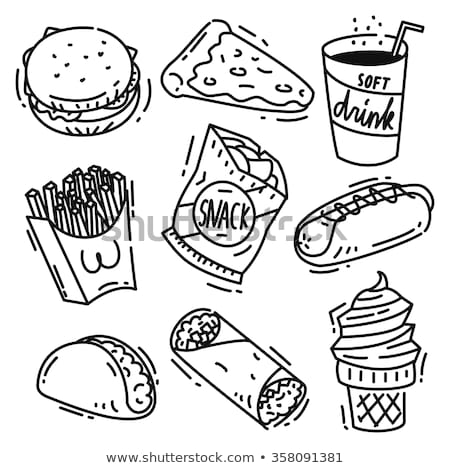 Soft Drink and Chips Sketches Vector Illustration Stock photo © robuart
