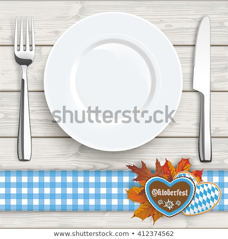 Wood Checked Table Cloth Heart Knife Fork Stock photo © limbi007