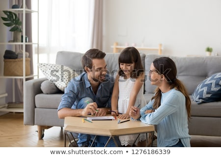 happy family spending time together parents kid stock photo © robuart