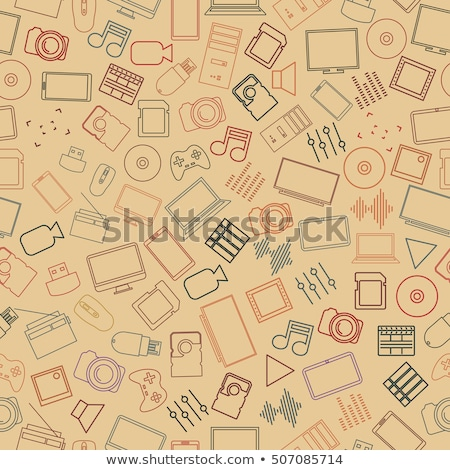 Set Seamless Patterns From Computer And Gadget Icons Vector Illustration Сток-фото © kup1984