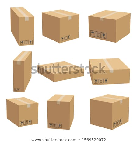 Set of cardboard boxes in 3d, vector illustration. stock photo © kup1984
