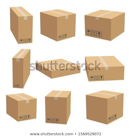 Foto stock: Conjunto · cartão · caixas · 3D · diferente · isolado