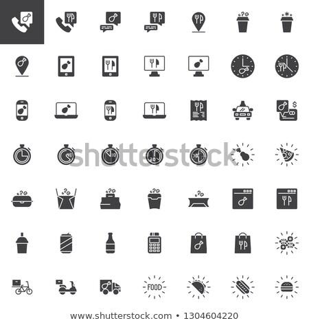 De comida rápida sólido iconos de la web vector establecer menú Foto stock © Anna_leni