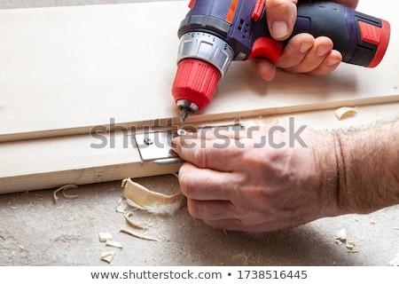 Ezermester faliszekrény ajtó oldalnézet férfi megjavít Stock fotó © AndreyPopov