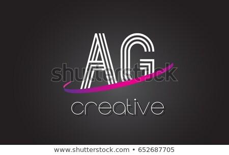 письме логотип черный пурпурный икона вектора Сток-фото © blaskorizov