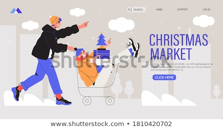Christmas Shopping of Family and Couple Web Pages Stock photo © robuart