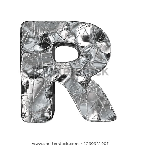 Grunge aluminium foil font letter R 3D Stock photo © djmilic