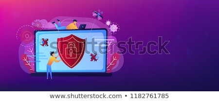 Antivirus software banner man laptop Stockfoto © RAStudio