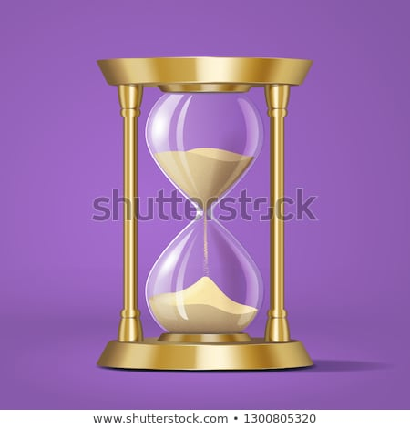 icon realistic golden bright hourglass watch with sand isolated stock photo © marysan
